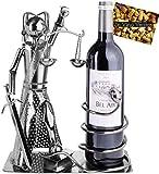 BRUBAKER Weinflaschenhalter Justitia mit Schlange - Metall Skulptur Flaschenständer - Metallfigur Weingeschenk für Juristen, Richter, Anwalt, Kanzlei - mit Grußkarte