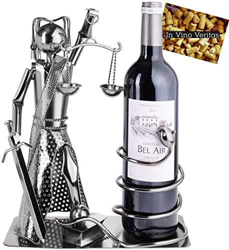 BRUBAKER Portabotellas de Vino Justitia con Serpiente - Escultura de Metal Soporte para Botellas - Figura de Metal Regalo de Vino para Abogados, Jueces - con Tarjeta de Felicitación