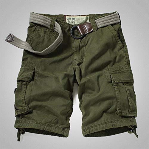 lxylllzs Pantalon Court Jeans Bermuda Déchiré,Short Salopette Droite pour Homme, Pantalon Court d'extérieur à Poches multiples-34_ 军绿,Pantacourt Camouflage Outdoor,