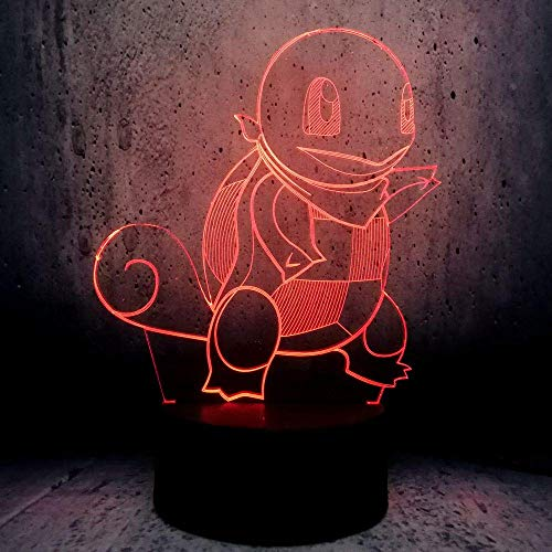 ZJBD YUMEI 3D Illusion Lamp, New Creative Atmosphere Visual Lamp Turtle Led Light Table Cartoon Kids Toys Bedroom Decor-Touch (Color : Touch+Remote)