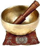 Ajuny Cuenco para cantar liso para meditación y sanación con sonido. Viene con un palo y un cojín. Gran regalo de 5 pulgadas.