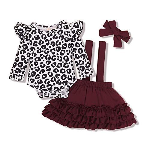 Kucnuzki Baby Girl Dresses 0-3 Months Baby Girl Clothing Newborn Leopard Print Long Sleeve Onesie Romper Ruffle Overall Suspender Skirt Baby Jumper Maroon Dress