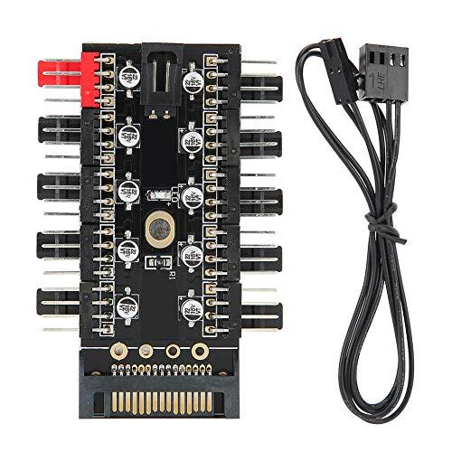 Concentrador de Ventilador de chasis para Sistema de refrigeración de computadora, Controlador de concentrador de Ventilador PWM de 10 Puertos y 12 V para Ventilador de refrigeración (SATA)