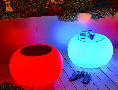 Moree Bubble Tabouret lumineux LED avec plateau en verre de sécurité, Ø 68 cm, H 41 cm, surface Ø 40 cm, polyéthylène, satiné, blanc, pour plusieurs couleurs LED 1-9 W, avec télécommande, pour extérieur