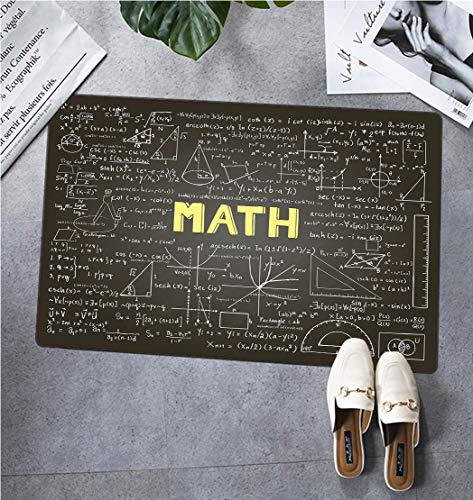 Mathematics Classroom Decor Decorative Floor Mat, Dark Blackboard Word Math Equations Geometry Axis Dirt Trapper Entry Rugs Entrance Door Rug, 31
