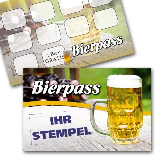 Bier Pass / Bonuskarte Bier / Treuekarte, Gutschein mit Stempelfeld 100 Stück