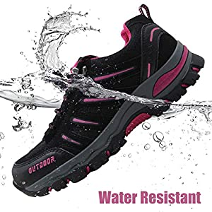 BomKinta Women's Hiking Shoes Anti-Slip Lightweight Breathable Quick-Dry Trekking Shoes for Women Black Size 9