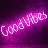 """Good Vibes Neon Sign (19.5 x 5 inch), Acrylic Board Led Neon Light """" Good Vibes"""" Neon Wall Sign, Hanging Neon Letters Lamp for Bedroom Beer Bar Pub Hotel Party Restaurant Art Decoration (Pink)"""