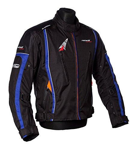 Zwarte motorjas met oranje naad, beschermers, ventilatiesysteem, klimaatmembraan en uitneembare thermische voering. X-Large zwart/blauw