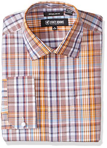 Stacy Adams Herren Plaid Regular Fit French Cuff Dress Shirt Smokinghemd, Schokoladen-Tot, 18.5