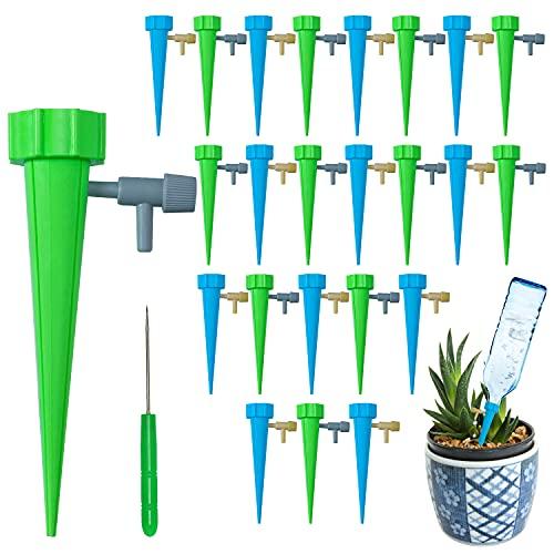 Irrigazione Balcone, 24Pcs Irrigazione a Goccia per Vasi, Irrigatore Automatico Vaso Innaffiare Piante in Vacanza Innaffiatore da Giardino Dosatore Acqua per Piante (2 Colori-1)