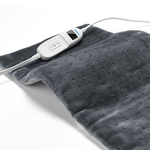RENPHO Heating Pad for Back Relief, 12'x24'' Electric Ultra-Soft Heating Pad for Neck, Back and Shoulder, Fast-Heating with 10 Temperature Settings, Auto Shut Off Available, ETL Certified-Gray