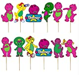24PC BARNEY CUPCAKE CAKE TOPPER TOPPERS FOR BIRTHDAY PARTY SUPPLY THEME DECORATIONS