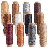 FEPITO 12 colores cuero encerado hilo de hilo 392 yardas 150D hilo de coser encerado para artesanía de cuero artesanía de costura DIY