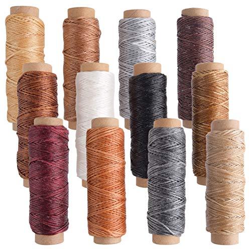 FEPITO 12 Farben Leder Wachsfaden Cord 392 Yards 150D Nähen Wachsfaden für Lederhandwerk DIY Sewing Craft