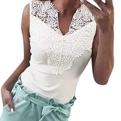 Spitse Crop Tops, Dasongff dames sexy V-hals blouse slim fit zonder mouwen, tops, wit
