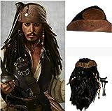 LJQIANG Disfraces de Halloween para Adultos Hombres Accesorios Sombrero de capitán Pirata Jack Sparrow Pirata Cosplay AMÉRICA Mujer Hombre,Peluca y el Sombrero