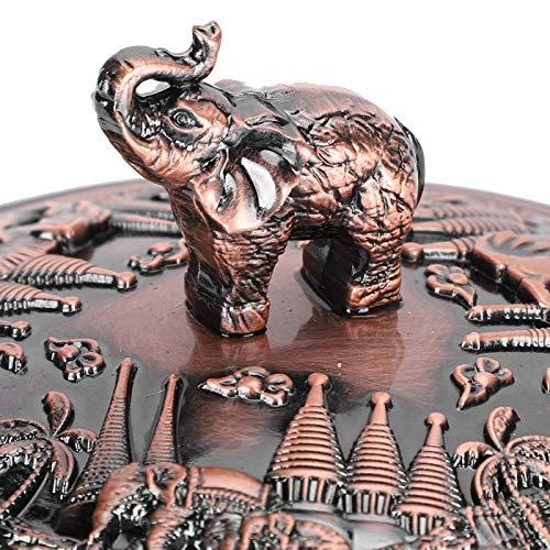 Xndz Cenicero Redondo, cenicero Decorativo Estilo Elefante en Relieve, Escritorio de Metal, 4 Ranuras, Adorno de Escritorio Retro para Clubes, Hotel, con Tapa