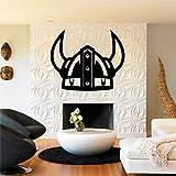 Decoración de pared de metal, decoración vikinga, casco vikingo, mitología nórdica, decoración de oficina en casa, arte noruego, arte de pared de metal (75 x 61 cm)
