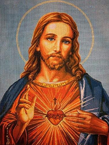 Kit de Inicio de Bordado Kit cruz punto de cruzIncluyendo hilo de algodón multi-filamen -Jesús punto de cruz medio ancho 30x40cm