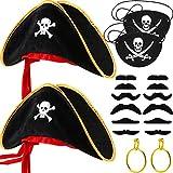 Tatuo 18 Piezas Accesorios de Disfraz de Pirata, Parche de Ojo Sombrero de Pirata Pendientes Dorados Bigotes Falsos para Halloween y Fiesta de Pirata Props de Disfraz