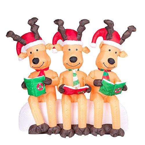 Pridea DREI große Rentiere lesend mit Weihnachtsmützen 150cm Weihnachtsdeko groß selbstaufblasend Christmas Airblown