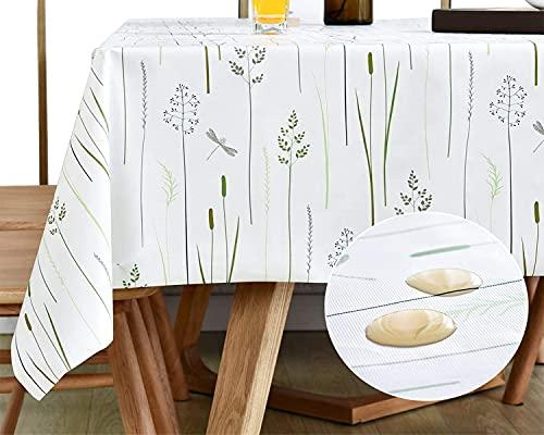 KAZBIS PVC Tischdecke, rechteckig, abwischbar, öl- und wasserfest, für Küche, Esszimmer – Kaffee- und Picknick-Tischdecke – einfach abwischbar (Weißgras, 140 x 260 cm)