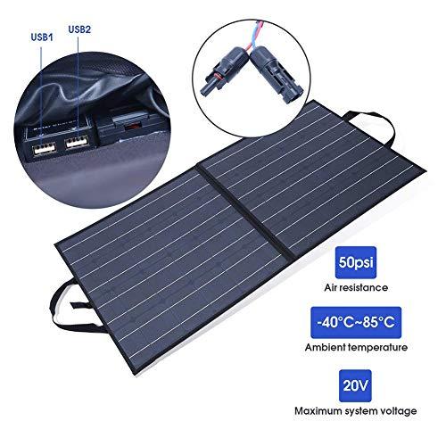 AIZYR Cargador Solar USB Dual Panel Solar 28W Impermeable Plegable Central Eléctrica como Generador Solar para La Cámara del Teléfono Tableta