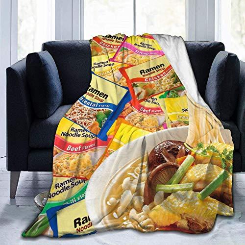 Manta suave R-a-m-e-n Nood-le So-up con impresión 3D, colcha decorativa de Navidad para sofá, cama, sofá, manta de felpa de 50 x 40 pulgadas para todas las estaciones