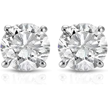 1 Ct TDW Round Cut 14K White Gold Diamond Studs Earrings IGI Certified
