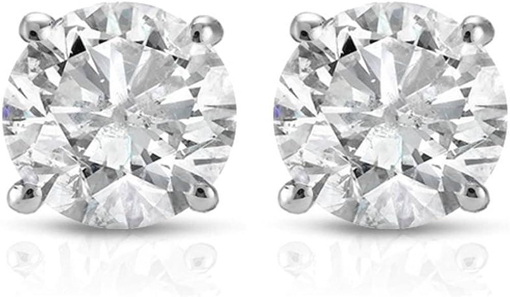 1 Ct TDW Round Cut 14K White Gold Earrings Diamond Cer Over item handling Nippon regular agency Studs IGI