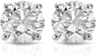 1 ct Round Cut 14K White Gold Diamond Studs Womens Earrings IGI Certified