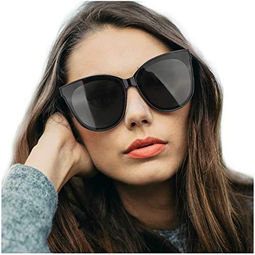 LVIOE Katzenauge Rahmen Damen Mode Sonnebrille UV400-Schutz Groß (Shwarz)