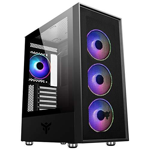 Itek Vertibra H210 – Caja PC Gaming Middle Tower MATX, Ventiladores ARGM de 4 x 12 cm, Preparado para 6 Ventiladores, 2 x USB3, Frontal Perforado y Panel Lateral de Cristal Templado, Color Negro
