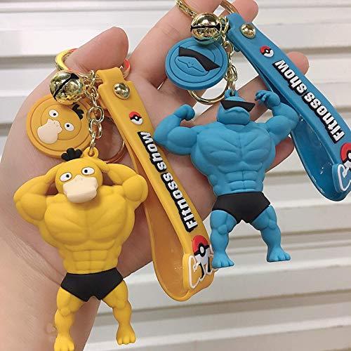 zzyou 2 Uds Llavero De Pokemon Fitness Hombre Musculoso Figura De Acción Modelo Colgante Decoraciones Juguetes Regalos 7 Cm