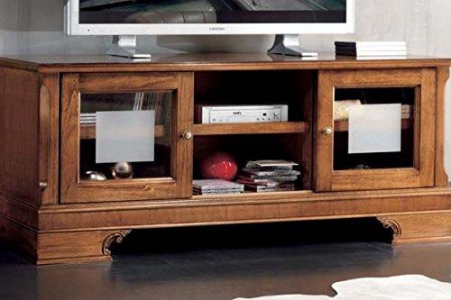 Legno&Design Meuble TV avec abaissement découpé et portes en verre