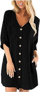 Women Long Sleeve Shirt Tops, Ladies Solid Button Pocket Casual T-shirt Blouse Short Dress