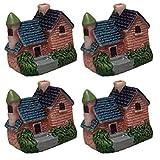 Decoración de acuarios 4PCS Mini Simulación Villa Modelo Micro Paisaje Villa Casa (Estilo 4 Azar)