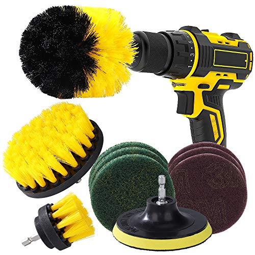 Drill Brush 10 Stück Bürstenaufsatz Bohrmaschine Bohrbürsten Befestigung Scrubber Reinigung Kit für Felgen Küche Auto Badezimmer Barbecue