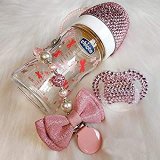 Custom Sparkle Rhinestone Pacifier Soother + Baby Pacifier Chain Clip + Bling Crystal Baby Milk Bottle for Baby Newborn Girls Pink Gift