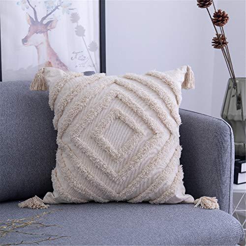 SWECOMZE 1 Stück Boho Kissenbezug Kissen Baumwolle Dekokissen Marokko getuftete Kissenbezüge für Sofa Schlafzimmer Wohnzimmer (A,45x45cm)