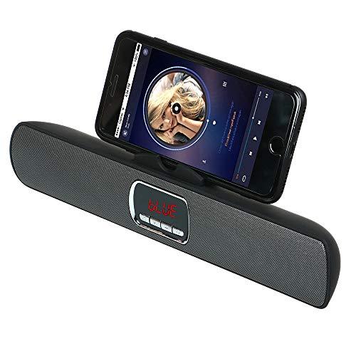 KawKaw Bluetooth Speaker mit Mikrofon & Smartphone-Halterung - Kabellose Lautsprecher für Smartphone & Tablet - Wireless Portable Soundsystem für Musik, Party und Heimkino (Schwarz)