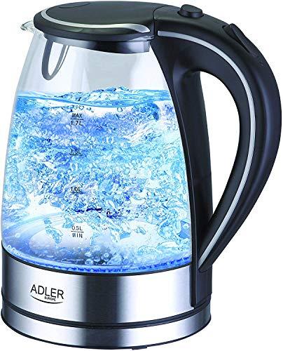 ADLER AD 1225 FO-AD1225 Wasserkocher, Kunststoff, schwarz/transparent