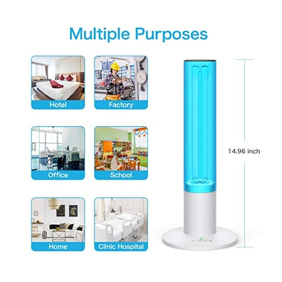 UV Germicidal Lamp 36W Disinfection Quartz Lamp with Ozone Sterilization, Remote Control Timer 15 min/ 30 min / 1 Hour… 7 【UVC with Ozone】: Ozone has a very powerful function, even if there is an object blocking, the gas will also spread throughout the room, without being affected by obstructions. but ozone itself has an unbearable smell after use needs to keep the room ventilated for 40 minutes or wait a more long time (3-12 hours) to let it self-decomposition into oxygen. Until there is no smell of ozone, then can enter the room. 【Timer Switch with Remote Control】:You can use the remote control to set the working hours, turn on the power, it has 15 seconds delay, safer for your leave. 15/30/60 minutes timer modes suit for different needs. Wide range powerful remote control, which received the signal from the behind wall, no longer need to wait, when the timer ends automatically turn off. 【High Efficiency】: With the design of UV light and Ozone synchronize working, stronger sterilization effect. Powerful 36 Watt UVC quartz lamp, effectively covers up to 40 Square meters. 360°wider beam angle, Light quality, you can use it anywhere you want. Combined with timing devices, you clean the air when you are working outside.