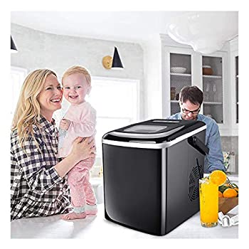 WANJXQUIY Ice Maker Machine Counter top,Portable Ice Maker Crushed ice for Home,Self-Cleaning Function,26lbs/24H 9min Ice Cubes Machine Ready in 8 Minutes,Includes Scoop and Removable Basket