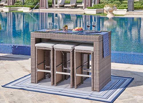 BRAVICH Weatherproof 7 PC Rattan Garden Furniture Outdoor Patio 6 seater Dining Bar Table Set Wicker Weave Rattan Garden Bar Table & Chair Set GREY/BROWN