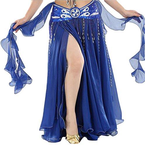 YuanDian Damen Chiffon Einfarbig Professionelle Tänzerin Bauchtanz Spliss Öffnungs Swing Long Rock Tanzkostüm Bauch Dance Kleid Blau Saphir (Nicht inbegriffen ist Gürtel)