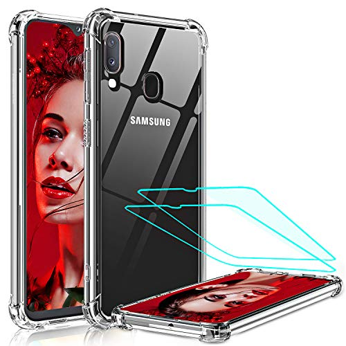 LeYi Compatible with Samsung Galaxy A20 Case, Samsung A20 Case with 2 Glass Screen Protector, Crystal Clear Hard PC Soft TPU Anti-Scratch Shockproof Bumper Phone Cover Case for Samsung A20 / A30