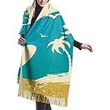 Elaine-Shop Summer Beach Palm Sea Waves Gaviota Surfeando en el mar Mujer Otoño Invierno Bufanda Bufanda clásica de borla Manta Abrigo Chal Bufandas