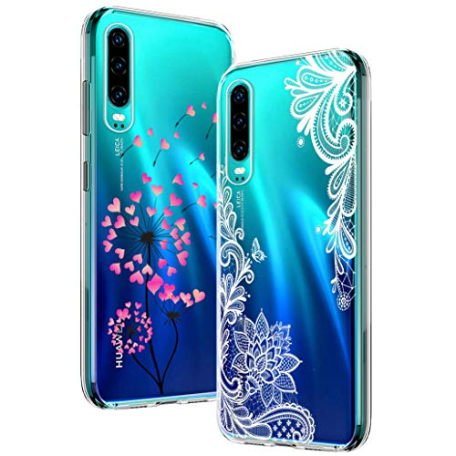 Yoowei [2-Pack] Funda para Huawei P30, Transparente con Dibujos Ultra Fino Suave TPU Silicona Protector Carcasa para Huawei P30 (Diente de Leon y La Mandala Flor)